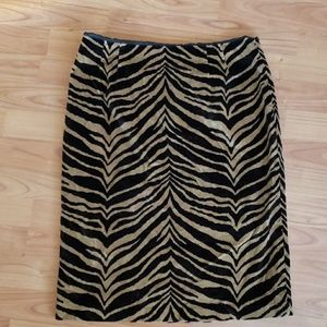 Talbots velvet animal print pencil skirt